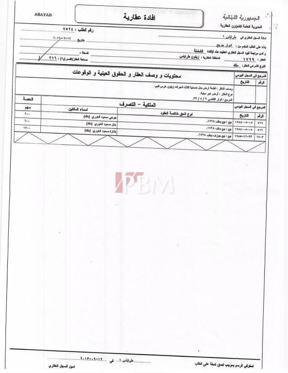 Sale Plot of land Tripoli Abou Samra